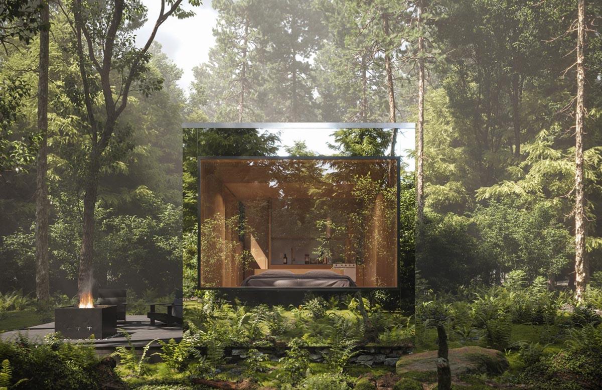 зеркальные домики в канадском лесу